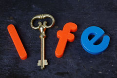 Key to Life. Antique key on a slate background with the word life in letters Royalty Free Stock Photography