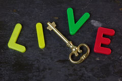 Key to Life. Antique key on a slate background with the word live in letters Stock Photography