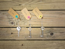 Key to life concept. Life choices concept: old keys hanging on rusty nails against wooden background with labels love, health, happiness Royalty Free Stock Images