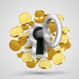 Key to the lock with coins. Vector illustration Royalty Free Stock Photo