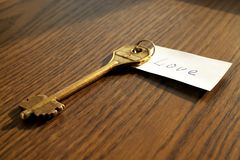 The key to love of bronze color. On a wooden background Royalty Free Stock Photography