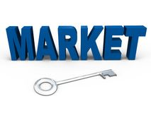 The key to the market - a 3d image. The key to unlocking the secrets of the market, a 3d image Stock Image
