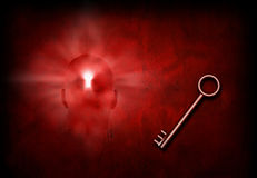 Key to mind. Key and mans head with lighted keyhole Royalty Free Stock Photography