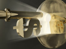 Key to money. Dollar key before keyhole, 3d Royalty Free Stock Photos