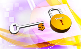 Key to money. Digital illustration of Key to money in colour background Royalty Free Stock Photography