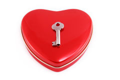 Key to my heart. Red heart with a small key on top. Concept Key to my heart Royalty Free Stock Photography