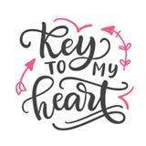 Key to my heart. Hand Written Lettering stock illustration