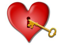 Key To My Heart Valentine Clip Art. A clip art illustration featuring a large red heart with a gold key symbolic of love Stock Photo