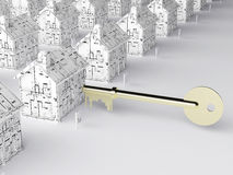 Key to a new home. Illustration dipicting a key opening the housing market and plans for the future Stock Photos