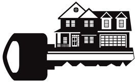 Key to New House Black and White vector Illustration Stock Photo