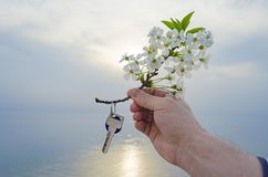 The key to the new house and the branch of cherry blossoms in hand. The key is from a new house and a cherry blossom branch in hands on a sunset background Stock Photo