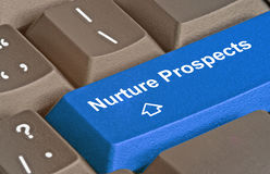 Key to nurture prospects. Keyboard with key to nurture prospects royalty free stock photo
