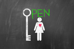 The key to open a woman heart Royalty Free Stock Images