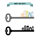 Key to sity. Vintage key and city buildings. Office skyscrapers Royalty Free Stock Image