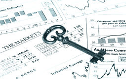 Key To Success. Key and Stock Charts.  Key To Success Concept Stock Image