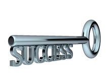 Key to success. Made of steel 3d isolated on white Stock Image