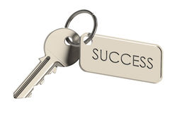 Key to Success. Key on a keyring. Success concept. Isolated on white Royalty Free Stock Images