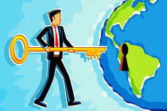 Key to Success. Illustration of business man with key opening earth shape lock Stock Photography