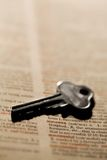 Key to success. Macro of key on dictionary royalty free stock images