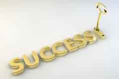 Key to Success. The word Success written in gold lettering appended with a golden key in a keyhole set against a white background Royalty Free Stock Image