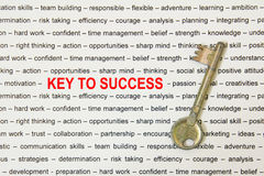 Key to success. Old metal key to success concept on paper sheet Stock Photo