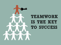 Key to Success. Illustration of teamwork paper man hold the key to success Stock Photography