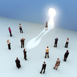 Key to success. Large group of people with one moving to the light, leading the pack, standing out from the crowd concept Royalty Free Stock Photos