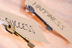 Key to success. Two keys on gold backing labelled success and happiness Stock Photos