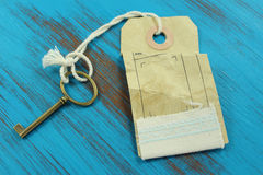 The key to success. Blue rustic wooden background. Royalty Free Stock Image