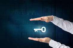 Key to success and business solution concept. Protecting gesture Stock Photos