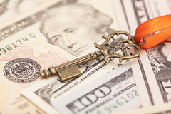 Key to success on different dollar banknotes Royalty Free Stock Photography