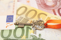 Key to success on different euro banknotes Stock Photos