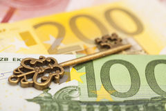 Key to success on different euro banknotes Stock Image