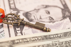 Key to success on dollar banknotes Royalty Free Stock Images