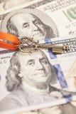 Key to success on dollar banknotes Royalty Free Stock Photos