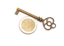 Key to success and euro coin Royalty Free Stock Photos
