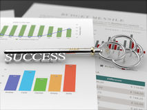 Key to Success - Financial Report Black Royalty Free Stock Image