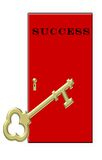 Key to Success - Gold Key Red Door Royalty Free Stock Photo