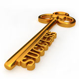 Key to success. Golden key to success isolated white background 3d illustration Stock Photography