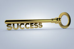 Key to Success. A Golden Key to Success with a subtle background Stock Photo