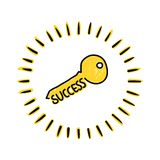 Key to success. Hand drawn illustration of the Key to success isolated on white background. Editable vector file available Stock Image