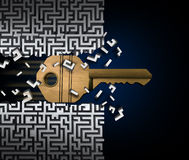 Key To Success. Or jailbreak and jailbreaking concept and crack the code symbol as a keyhole object breaking through a maze puzzle or labyrinth as a finding a Royalty Free Stock Photo