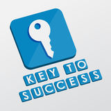 Key to success and key sign, flat design blocks Royalty Free Stock Image