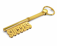 Key to success made of gold isolated Stock Images