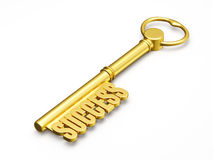 Key to success made of gold  Royalty Free Stock Photo