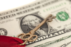Key to success on one dollar banknotes Royalty Free Stock Images