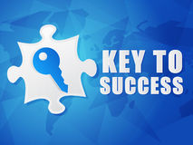 Key to success and puzzle piece with key sign, flat design Royalty Free Stock Images