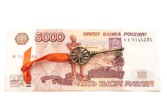 Key To Success With Red Bow on 5000 Russian ruble banknote Stock Image