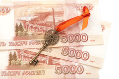Key To Success With Red Bow on 5000 Russian ruble banknotes Stock Image
