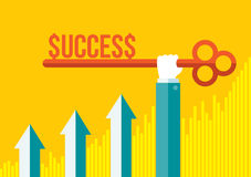 Key To Success. Skeleton key to success being held by business man hand with yellow orange background and ascending graph bar. Modern Flat Design royalty free illustration